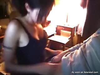 amateur brunette handjob